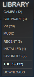The Tools option in Steam.